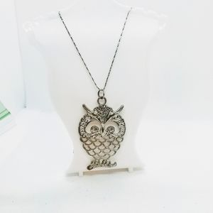 Jewelry - Large Owl Pendant in Silvertone with Crystals